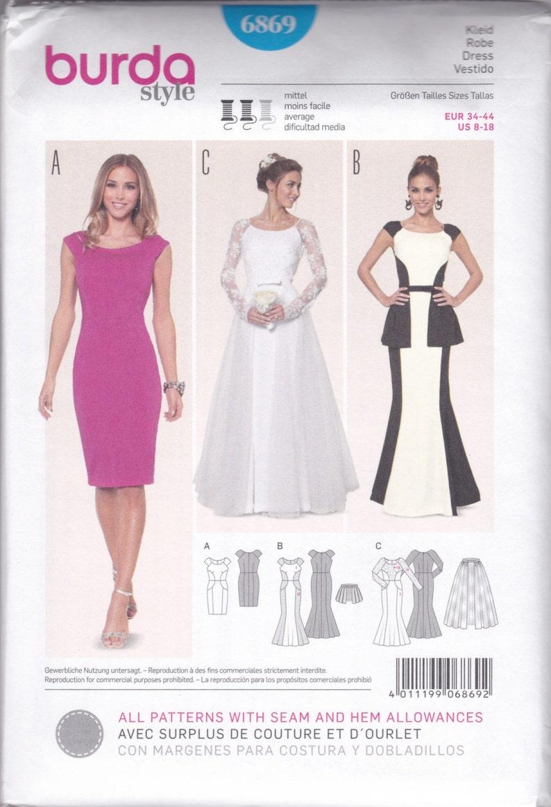 6869 Burda soirée et mariage robe Couture patron tailles 8 18