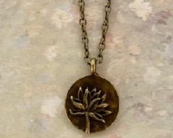 Lotus Pendant 27x30 mm,Lotus flower pendant Egyptian Pendant Round Pendant Bronze Pendants Flower Pendant Antique Bronze Lotus Pendant
