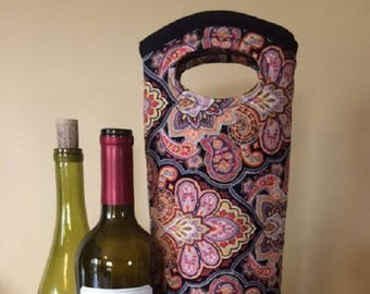 Wine Gifts - Wine Tote - Wine Tote Bag - Wine Bottle Holder - Wine Bottle Tote - Wine Holder - Tote - Tote Bag - Bottle Bag - Quilted Tote