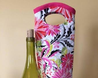 Wine Bag - Wine Gifts - Wine Bag Holder - Wine Holder - Bottle Bag - Wine Tote - Wine Tote Bag - Wine Lover Gift - Wine Lover - Gerber Daisy