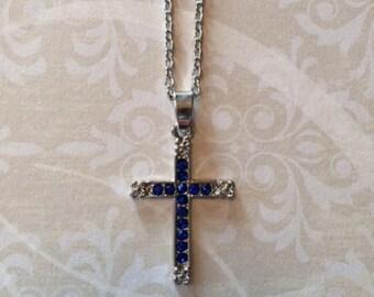 Cross Necklace - Cross Necklace Silver - Cross Jewelry - Cross Pendant - Blue Cross - Blue Cross Pendant - Blue Cross Necklace - Necklace