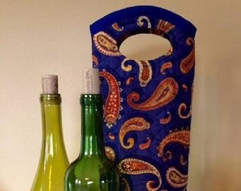 Wine Holder - Fabric Wine Tote - Fabric Wine Bag - Wine Gift Bag - Tote Bag - Bottle Bag - Wine Gifts - Wine Tote - Wine Bag - Wine Tote Bag
