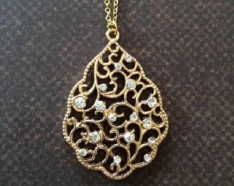Rhinestone Necklace - Rhinestone Jewelry - Fancy Jewelry - Gold Necklace - Gold Necklace Dainty - Wedding Necklace - Wedding Jewelry - Gift