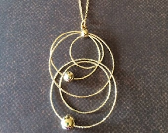 Wire Jewelry - Wire Necklace - Wire Pendant - Gold Wire Necklace - Circle Necklace - Circle Necklace Gold - Circle Pendant - Gold Necklace