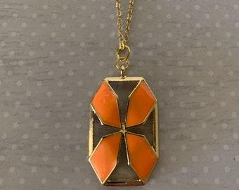 8-40-2 Two Vintage German 25x18mm Octagon Orange Opaque Glass Jewel