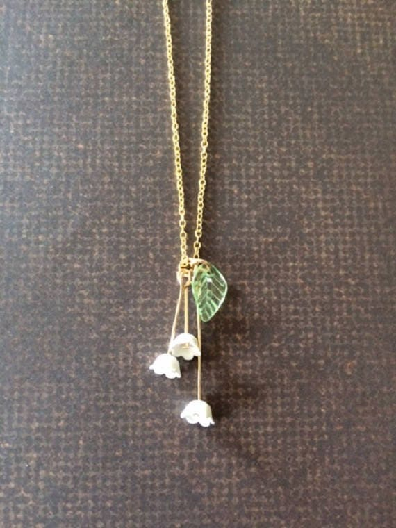 Abelia Flower Pendant Lily Of The Valley Abelia Link Necklace: Lily Of The Valley Necklace Lily Necklace Botanical Jewelry