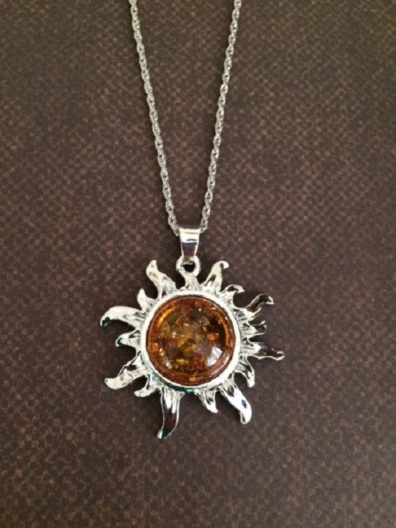 Sun Necklace   Sun Jewelry   Sun Pendant   Sunburst Necklace   Sunburst   Amber Necklace   Amber Jewelry   Amber Pendant   Glass Necklace by Etsy