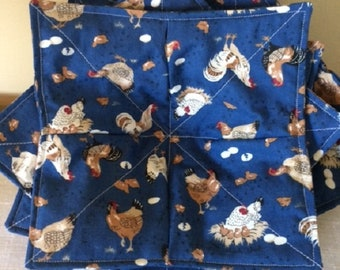 Microwave Bowl Cozy - Farmhouse Decor - Microwave Cozy - Farmhouse Table - Bowl Cozy - Farmhouse Kitchen - Chicken Farmer Gift - Bowl Cozies