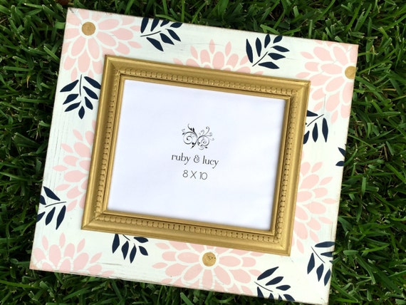 modern floral distressed 8x10 picture frame pink & gold | Etsy