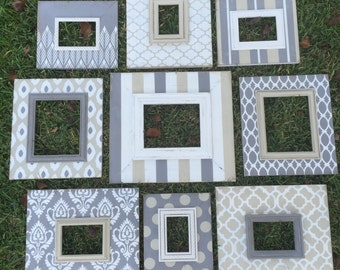 gallery wall frames set of 9 distressed picture frames | home decor | wall decor | neutral frame | custom hand painted picture frames
