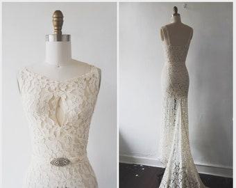 ce17c2e84455 1930s wedding dress - vintage 1930s lace wedding dress with train - size x  small - vintage wedding dress / vintage bridal - evening dress