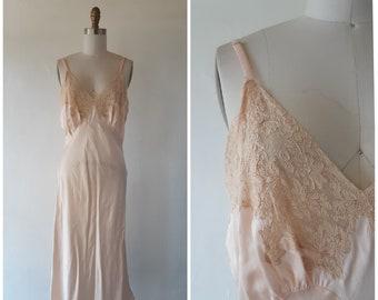 dae1f0e2c611 1930s lace slip - vintage 1930s silk pink bias cut dress slip with lace and  adjustable straps - size medium - vintage lace lingerie slip