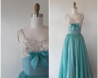 03004e8acd2 vintage dress - vintage 1950s blue chiffon