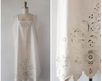 6a724d0da7 antique edwardian nightgown - antique 1900s edwardian linen cotton with eyelet  nightgown - size 1x large - antique nightgown