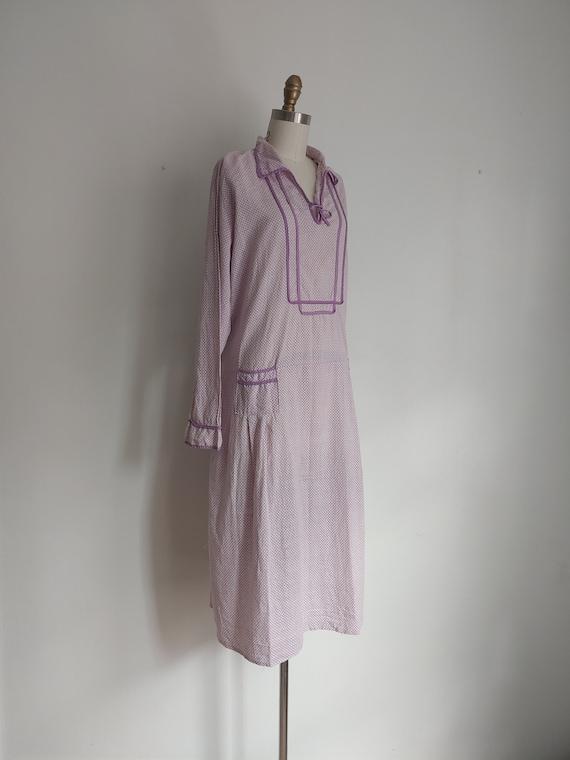 antique 1920s lillac purple cotton day dress - me… - image 9