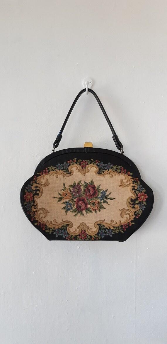 vintage handbag - vintage 1950s floral needlepoint