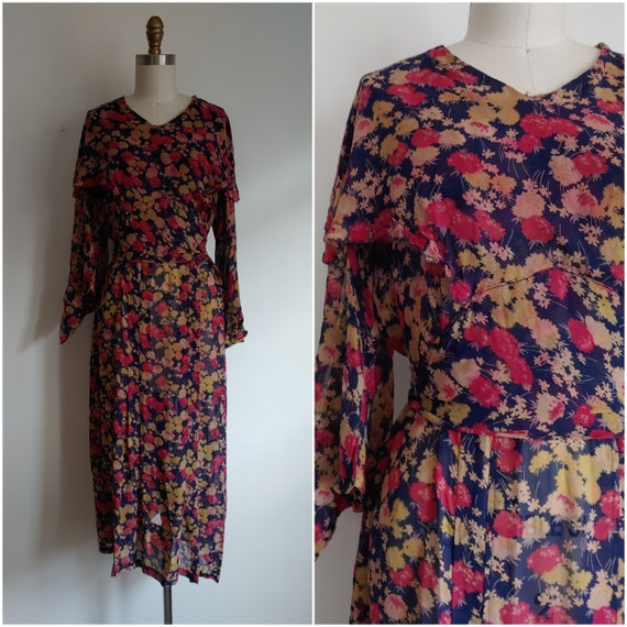 vintage 1930s floral silk chiffon dress - large