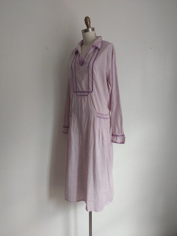 antique 1920s lillac purple cotton day dress - me… - image 4