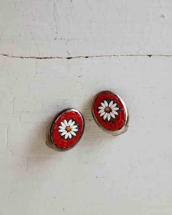 50s clip on earrings - vintage 1950's mosaic daisy