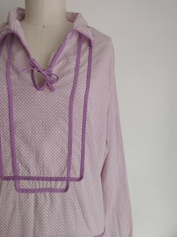 antique 1920s lillac purple cotton day dress - me… - image 3