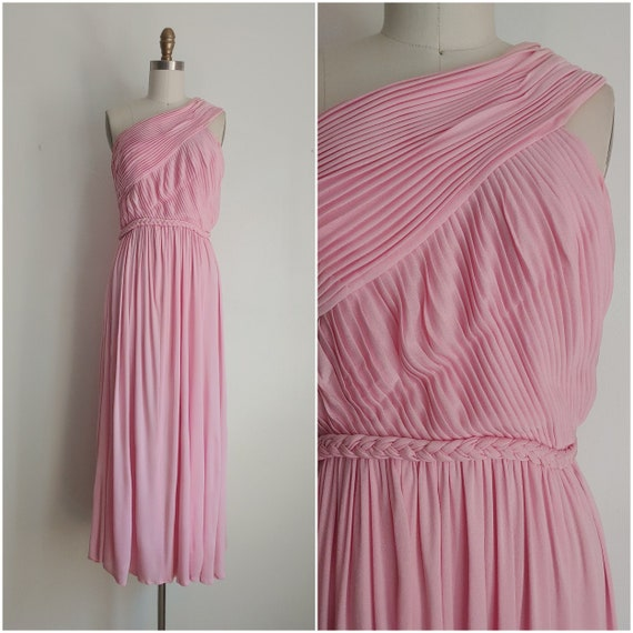 Vintage 1970s Malcolm Starr pink pleated one shoul