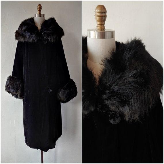 1920s - 1930s antique black silk velvet coat with