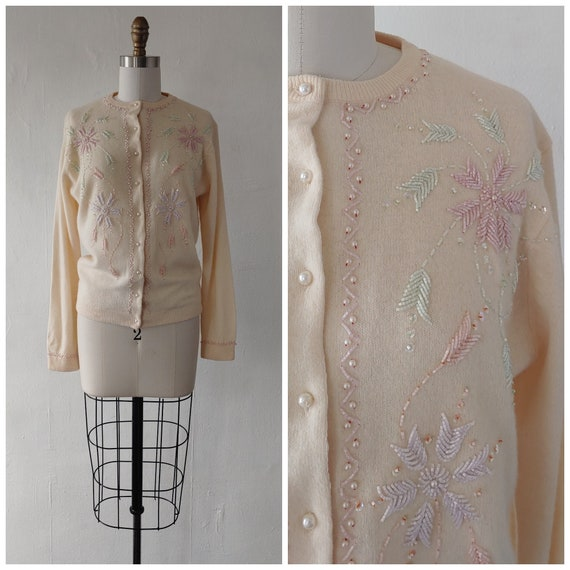 1950s beaded sweater - vintage 1950s floral beaded