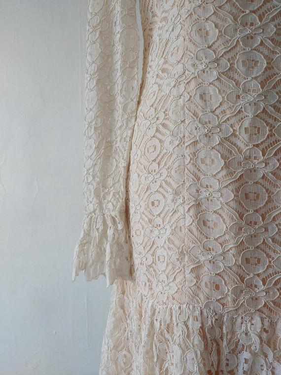 vintage 1960s beige lace dress - 1960s beige lace… - image 2