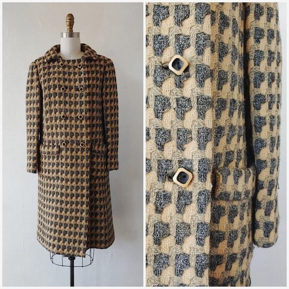 1960s wool coat - vintage 1960s gray and dark beig