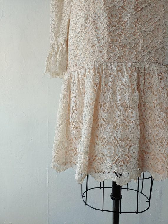vintage 1960s beige lace dress - 1960s beige lace… - image 10