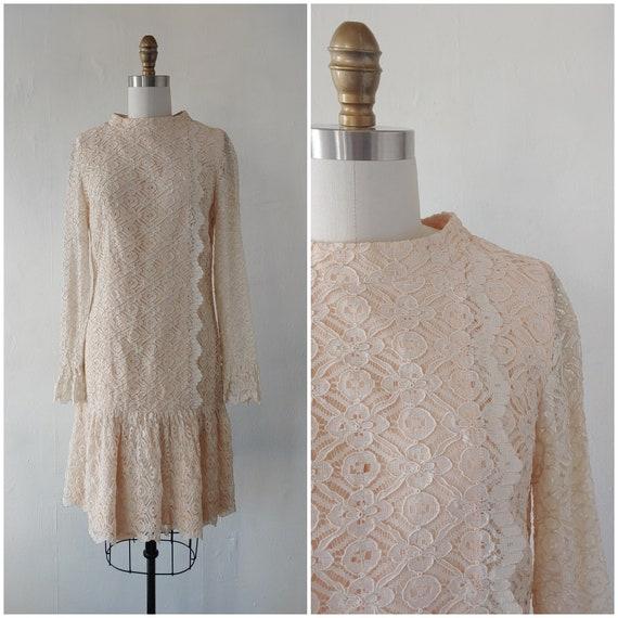 vintage 1960s beige lace dress - 1960s beige lace… - image 1