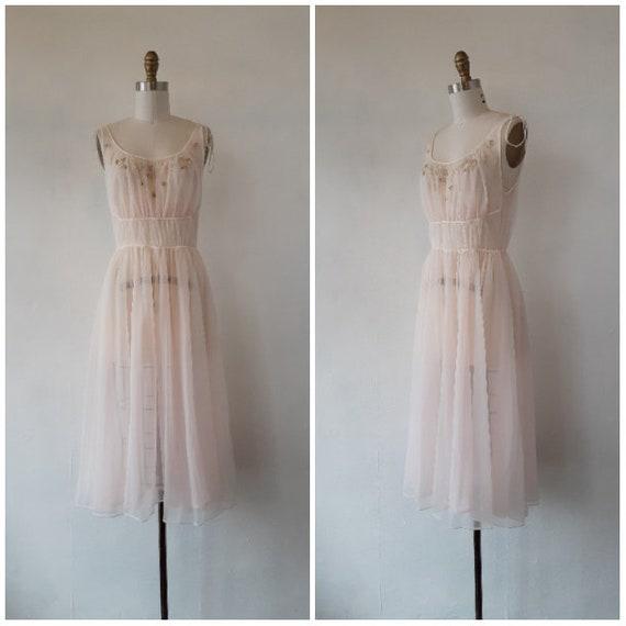 1950s lingerie - 1950s pale pink sheer beaded peig