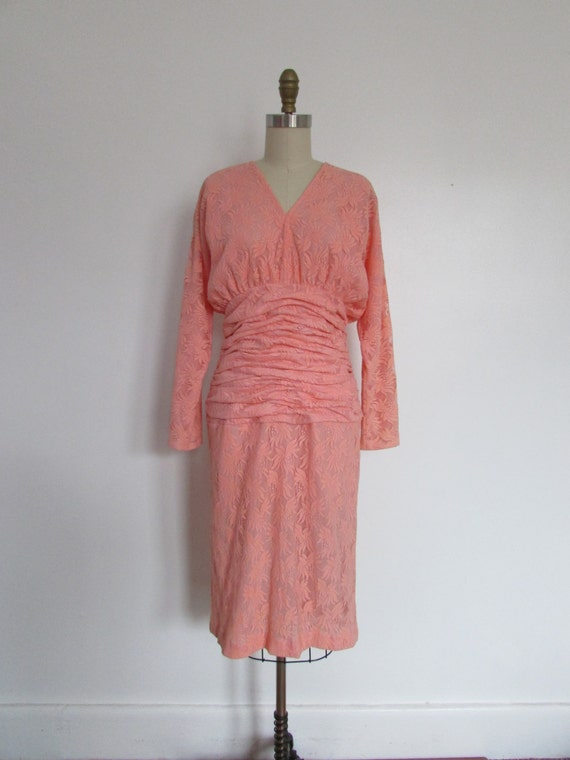 vintage 1980s designer Halston pink lace dress