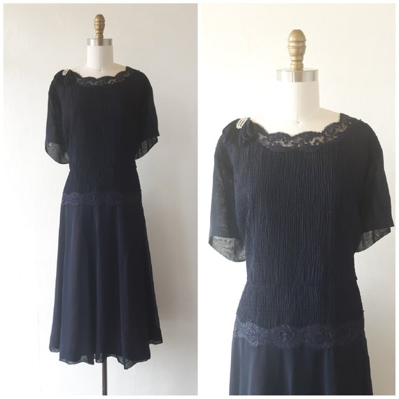 vintage 1950s blue chiffon dress - 1950s blue chi… - image 1