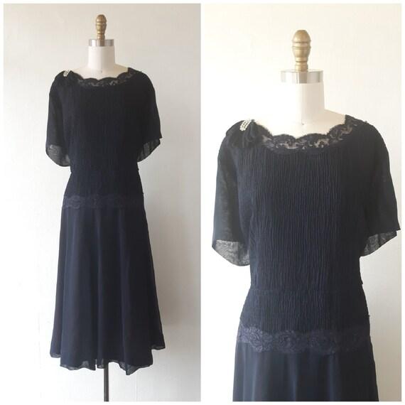 vintage 1950s blue chiffon dress - 1950s blue chif