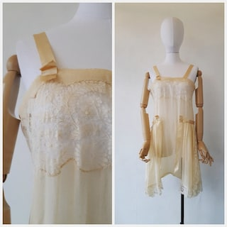 1920s step-in lingerie - antique 1920s flapper step-in crepe silk and lace lingerie - size small - antique flapper lingerie