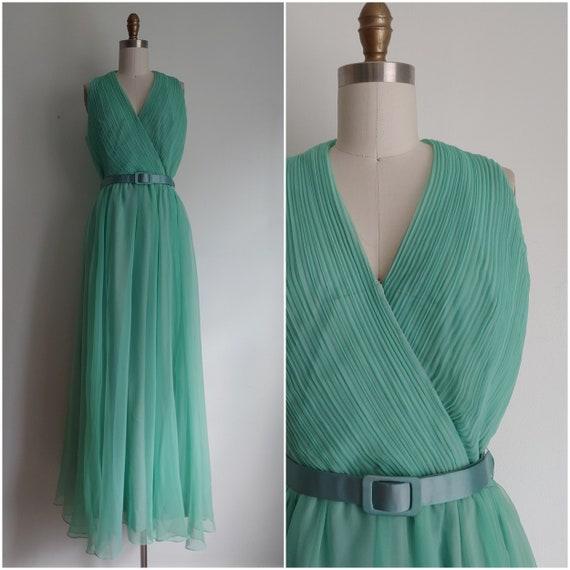 vintage 1960s seaform mint green chiffon dress - s