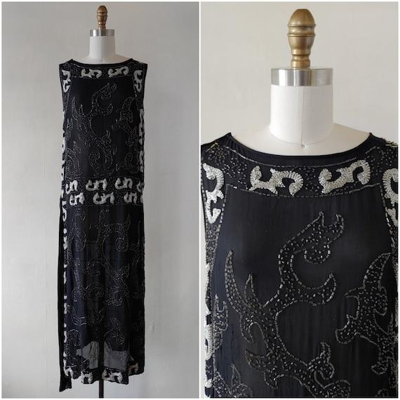 1920s flapper dress - rare antique 1920s black and