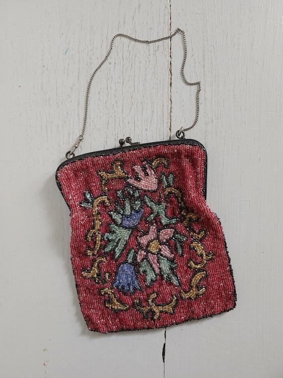 antique 1920's floral beaded purse / bag