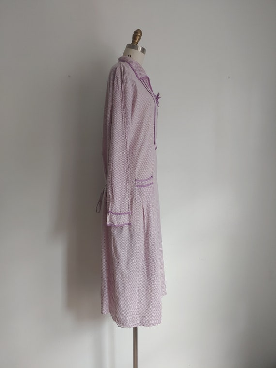 antique 1920s lillac purple cotton day dress - me… - image 8