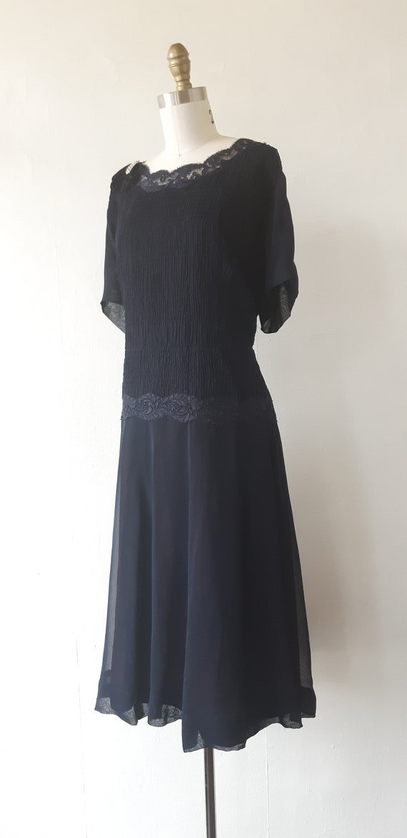 vintage 1950s blue chiffon dress - 1950s blue chi… - image 4