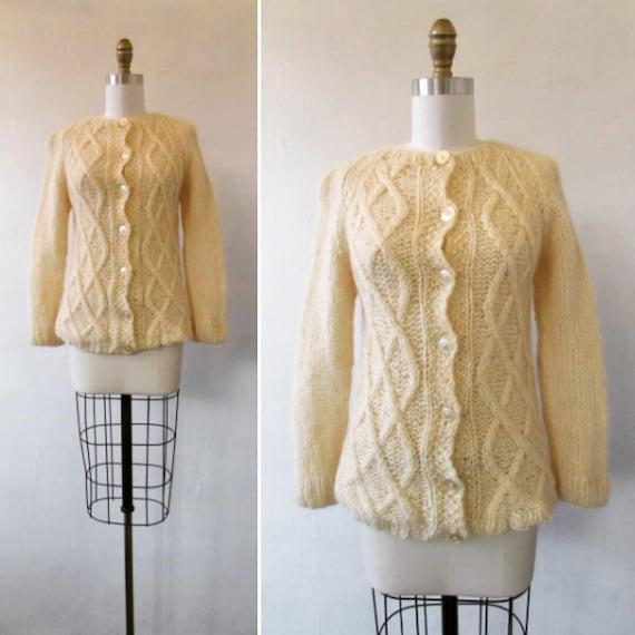 vintage mohair sweater - vintage 1950s cream mohai