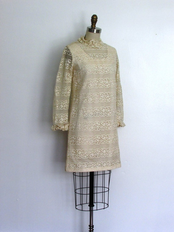 1960s cream lace sheath mini dress | vintage 60s a