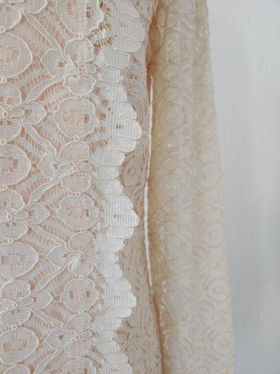 vintage 1960s beige lace dress - 1960s beige lace… - image 3
