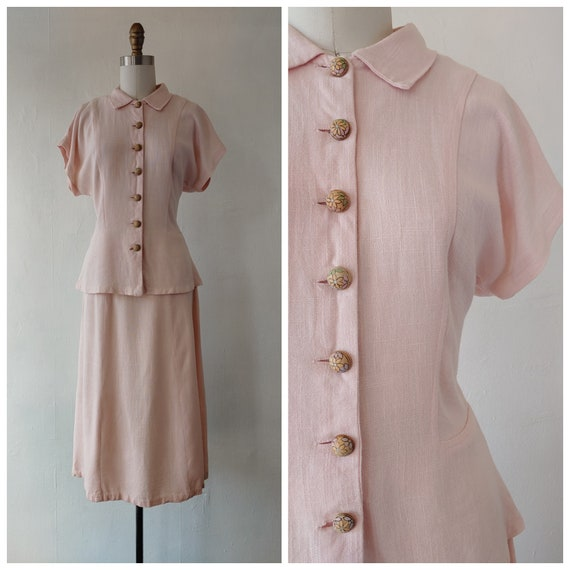 1940s pink suit - vintage 1940s pink linen two pie