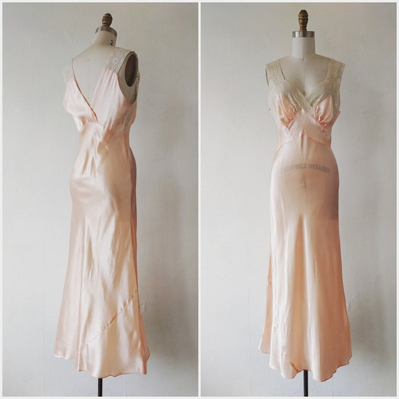1930s pink silk and lace slip - vintage 1920 - 193