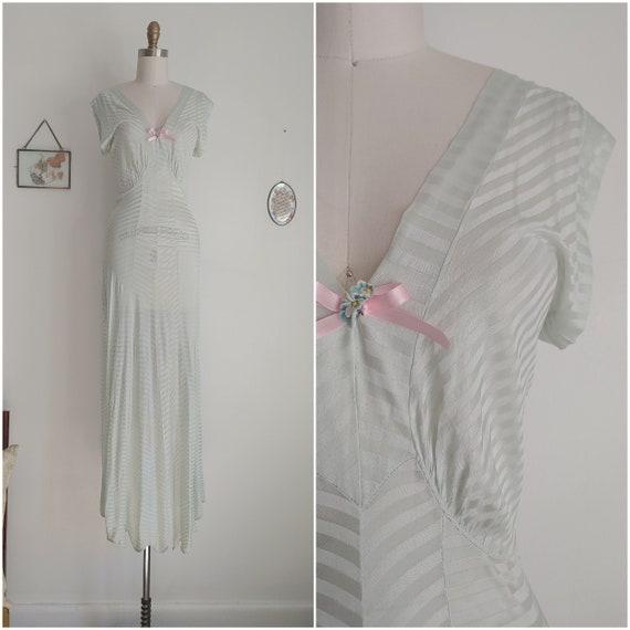 vintage 1940s light blue chevron slip nightgown /