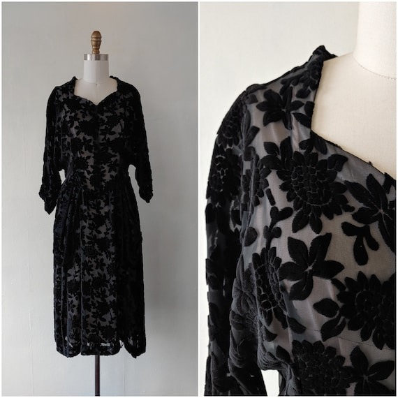 1990s black velvet dress - 1990s black floral burn