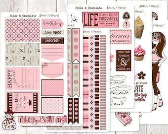 Pinks and Chocolate Sticker Set for The Happy Planner    Planner Accessory