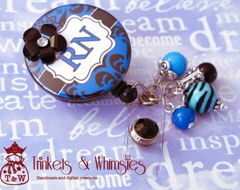 Damask Blue and Black RN Retractable Badge Holder